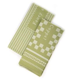 MacKenzie-Childs Fancy A Cuppa Dish Towels-Green-Set Of 2