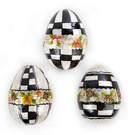 MacKenzie-Childs Black & White Floral Eggs - Large - Set of 3