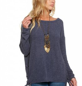 Chaser Long Sleeve Lace Up Drop Shoulder Pullover