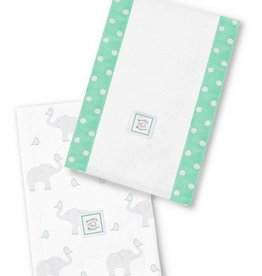 Swaddle Designs Baby Burpies-Set of 2-Aqua Elephant & Chickies