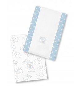 Swaddle Designs Baby Burpies-Set of 2-Pastel Blue Doggie