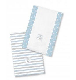 Swaddle Designs Baby Burpies-Set of 2-Pastel Blue Stripes