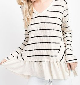 143 Story Ruffle Hem Stripe Shirt