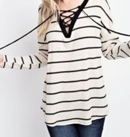 143 Story Long Sleeve Thermal Tie Neck Shirt