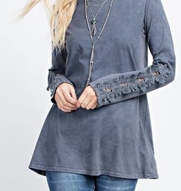 143 Story Long Sleeve Lace Applique Shirt
