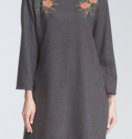 American Fit Bell Sleeve Floral Navy Dress