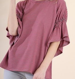 American Fit Striped Ruffle Short Sleeve Top