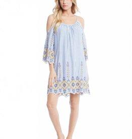 Fifteen Twenty Embroidered Cold Shoulder Dress
