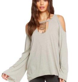 Chaser Bell Sleeve Cold Shoulder Shirt