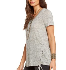 Chaser Asymmetraical Lace Up Tee