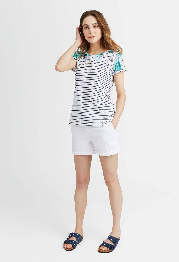 Joules Palm Floral Stripe Tee