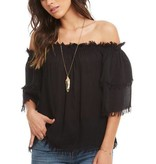 Chaser FRayed Off The Shoulder Blouse