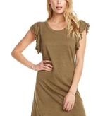 Chaser Flutter Sleeve Hi-Lo Shirttail Dress