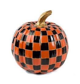 MacKenzie-Childs Orange Check Pumpkin-Medium