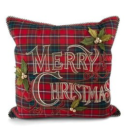MacKenzie-Childs Tartan Merry Christmas Pillow