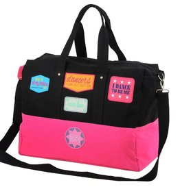 B Plus Printworks Patch Dance Bag with Pom Pom - Black & Pink