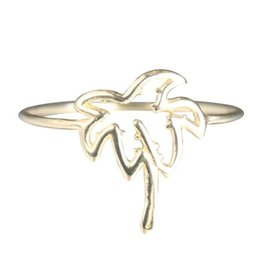 Verameat PALM TREE RING IN GOLD BRASS