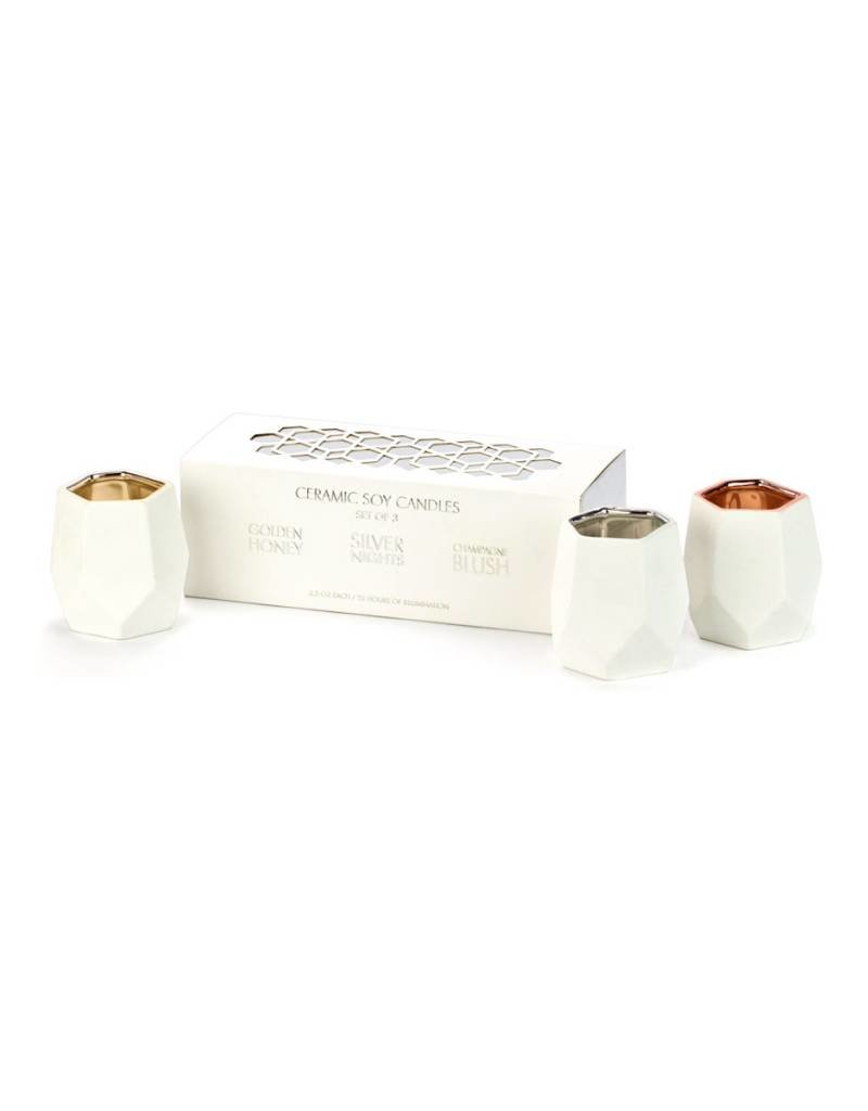 D.L. & CO. SET OF 3 ABSTRACT VOTIVES - GOLD, SILVER & ROSE GOLD