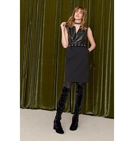 ottod'Ame LEATHER & KNIT DRESS W/ PEARL BELT