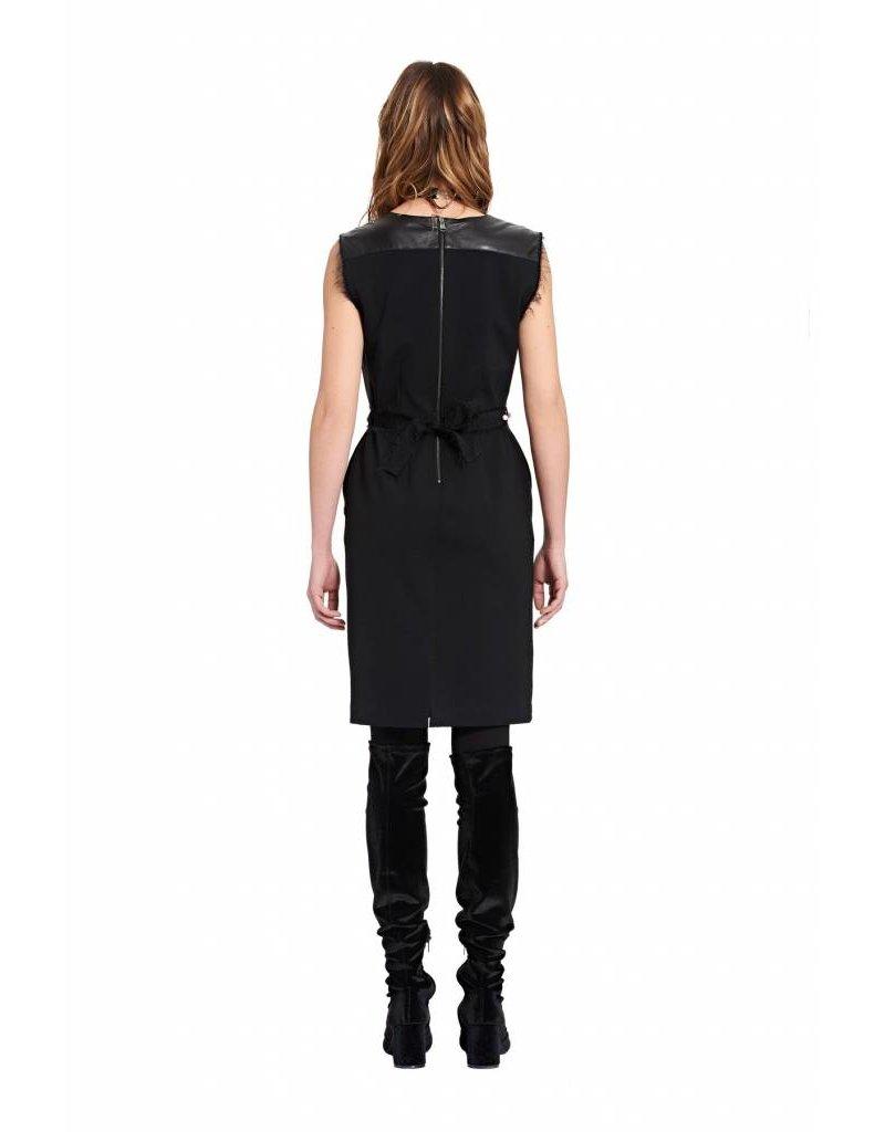 ottod'Ame LEATHER & KNIT DRESS W/ PEARL BELT