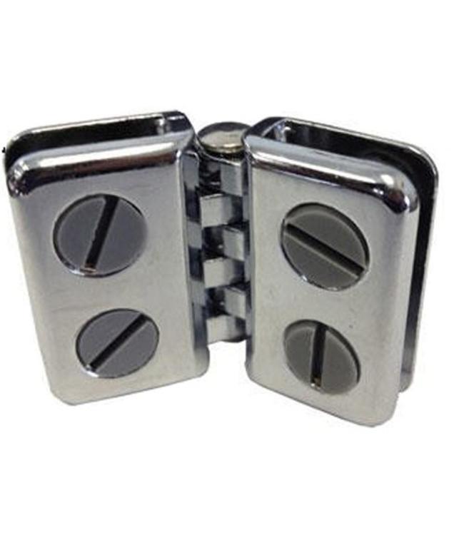 Charnière double en métal chrome