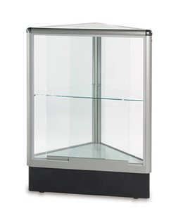 Glass corner display alumimum