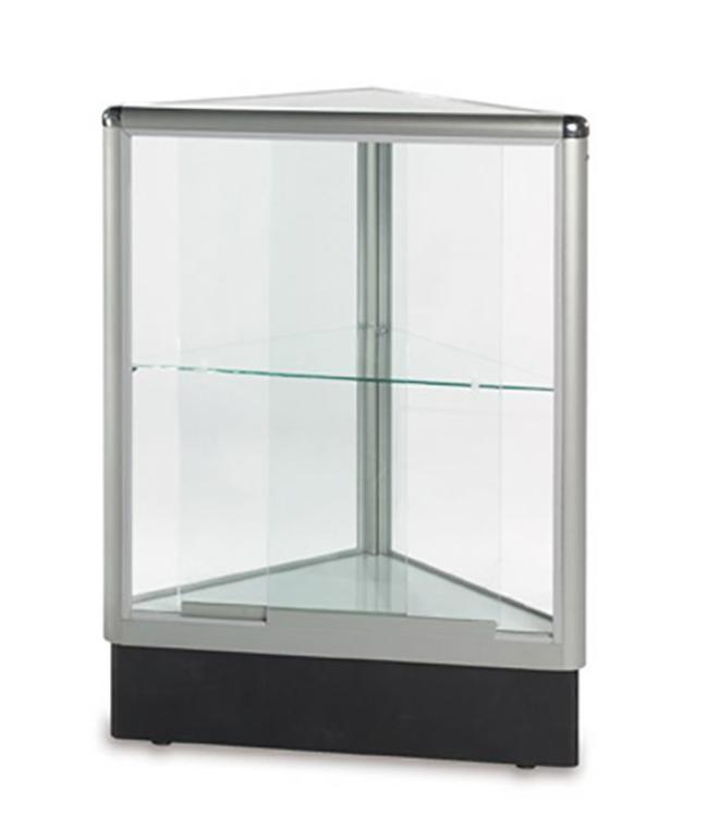 Comptoir vitré en coin aluminium