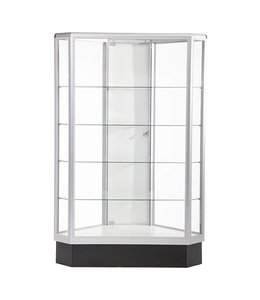 Hexagonal glass display case 60''H aluminum