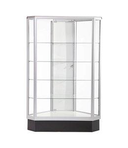 Présentoir vitré hexagonal 60''H aluminium