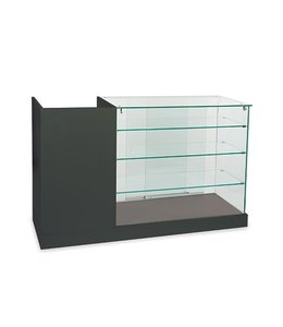 Full vision frame less glass display with cash counter