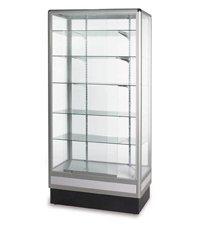 Central glass display case 72''H aluminum