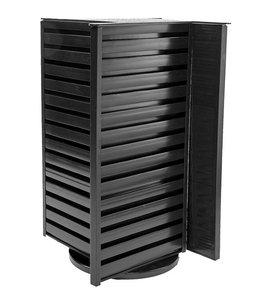 "Countertop revolving plastic s.w. tower 13.5"" x 13.5"" x 19""H black or white"