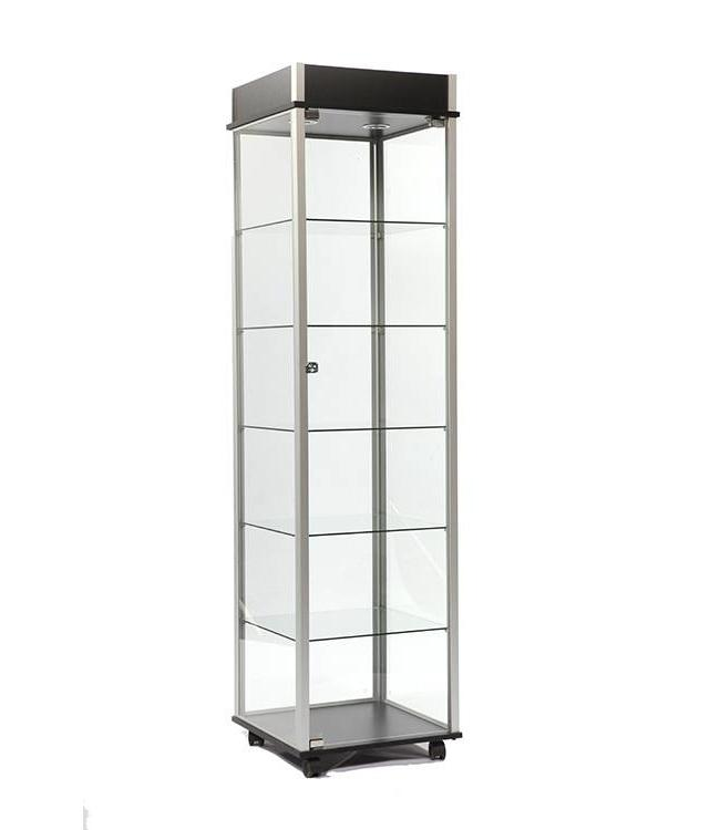 76''H glass tower display case