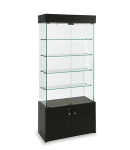 """30"""" x 14"""" x 72"""" H Wall or central display case with storage"""