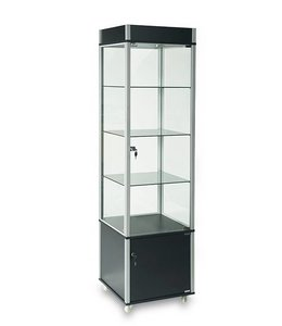 """20"""" x 20"""" x 76""""H tower display with storage and casters"""