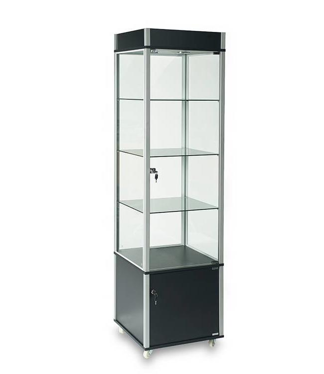 """Glass tower display case 76""""H with storage"""