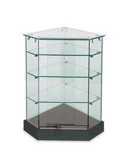 Frameless corner display showcase