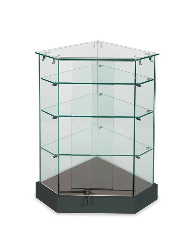 Présentoir vitré en coin verre sur verre