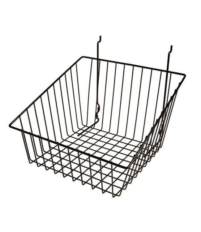 Panier à côtés inclinés pour panneau rainuré, perforé ou grille 12''x12''x 8''H noir ou blanc