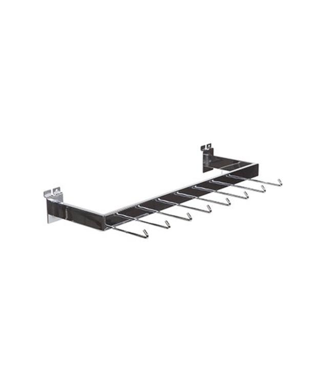 "U bar 24"" x 7"" with 8 hooks of 4"" for slatwall"