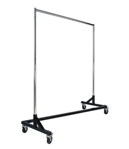 """Z"" Clothing rack, chrome with black base"