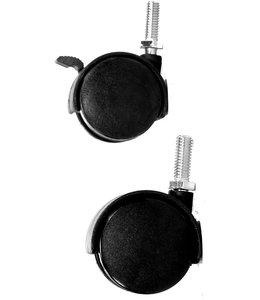 "Plastic twin caster 2"" diameter, 1"" stem"