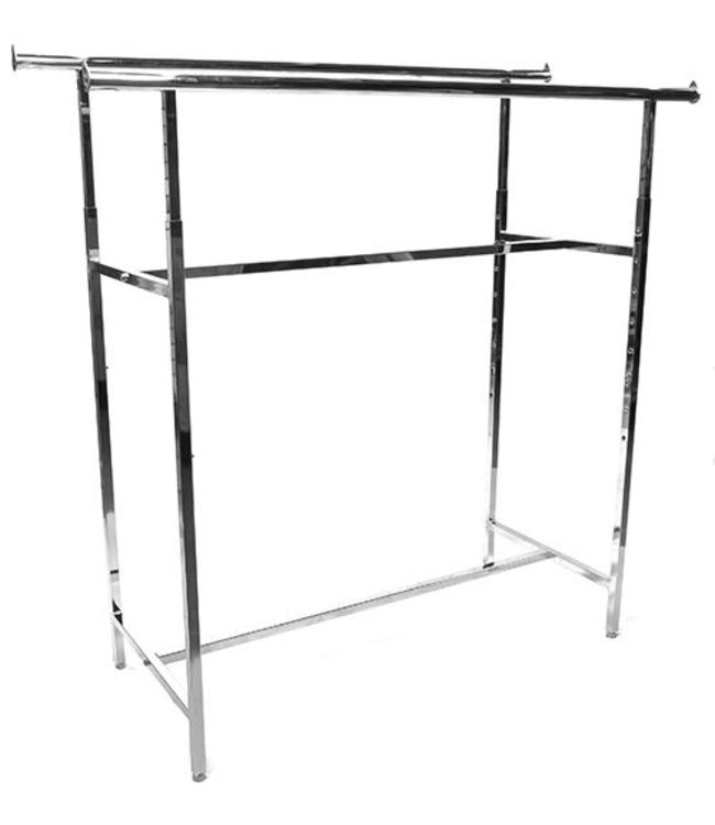 """Double rail rack 60""""L height ajustable from 48"""" to 72"""" chrome"""