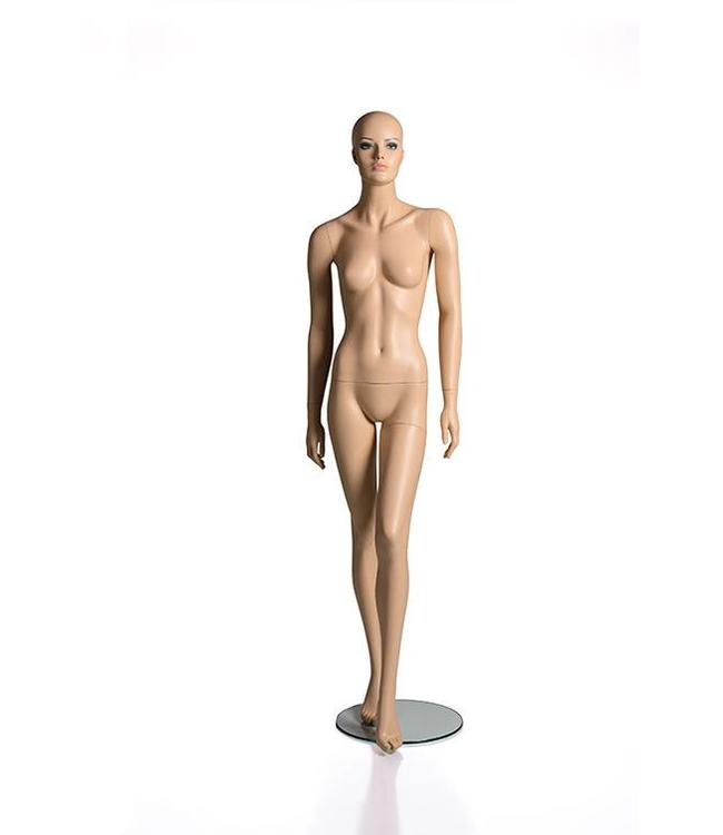 Female mannequin with face, no hair, fleshtone fiberglass