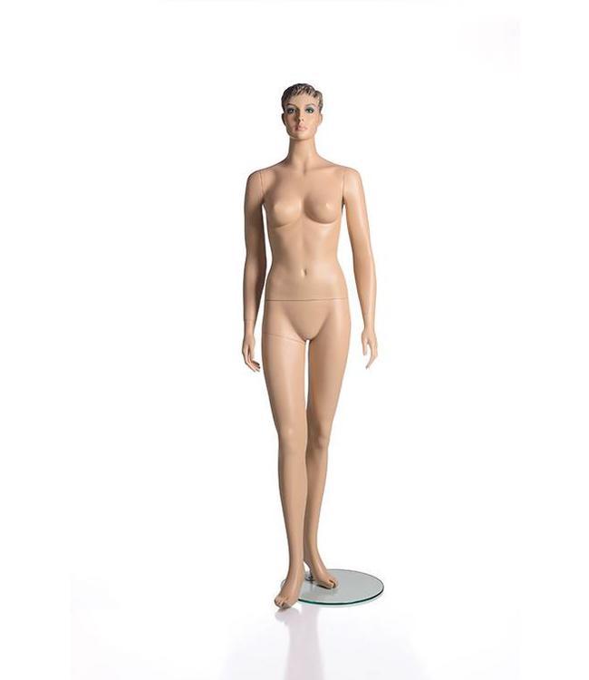 Mannequin femme avec visage et cheveux moulés, peau, fibre de verre