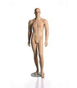 Mannequin homme avec visage sans cheveux, fibre de verre, peau