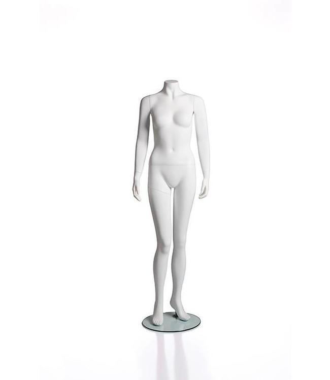 Mannequin femme sans tête, blanc mat, fibre de verre