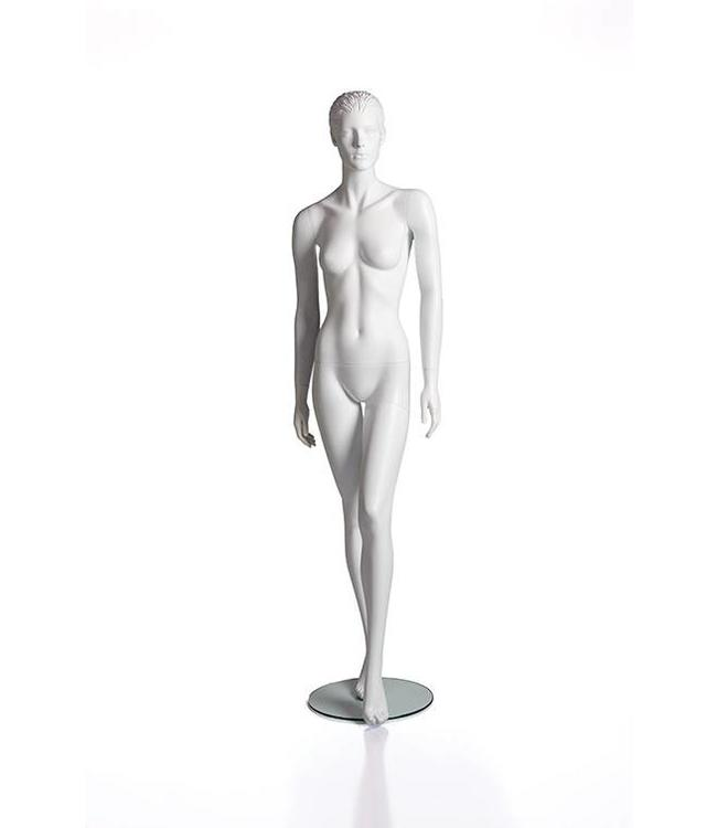 Female mannequin with face and molded hair, matte white fiberglass