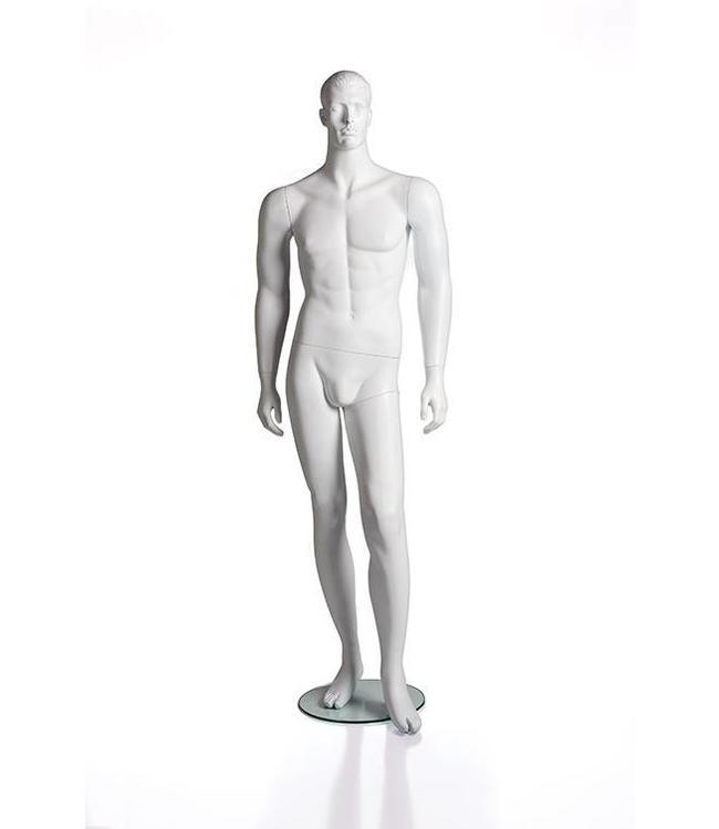 Mannequin homme avec visage et cheveux moulés, fibre de verre blanc