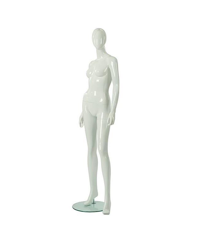 Mannequin femme visage abstrait, blanc lustré, fibre de verre